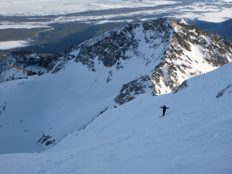 Mike skiing down the East Face, with firm but sufficiently grippy wind scoured snow