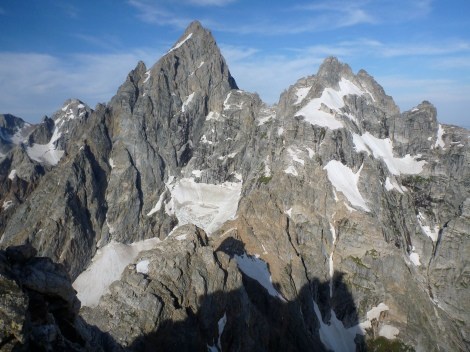 View of Grand Teton's North Ridge and Mt. Owen as seen from the top of Teewinot