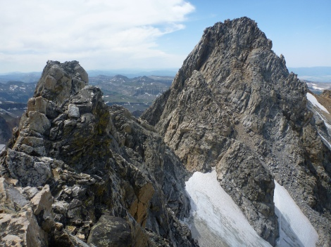 View of the South Teton and Ice Cream Cone from the top of Gilkey Tower.