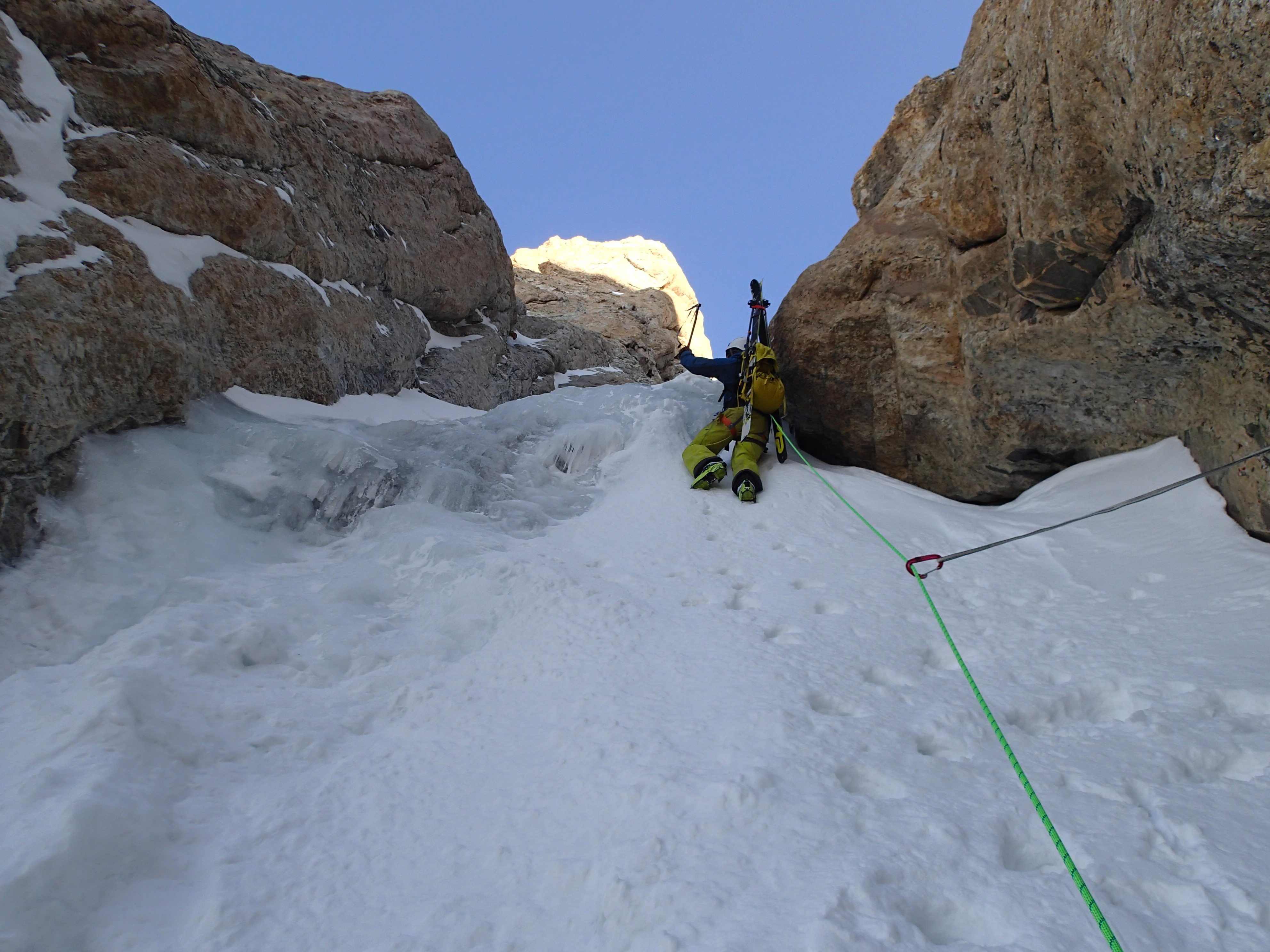 Ice climbing with Alpax axes up the Grand Teton in winter