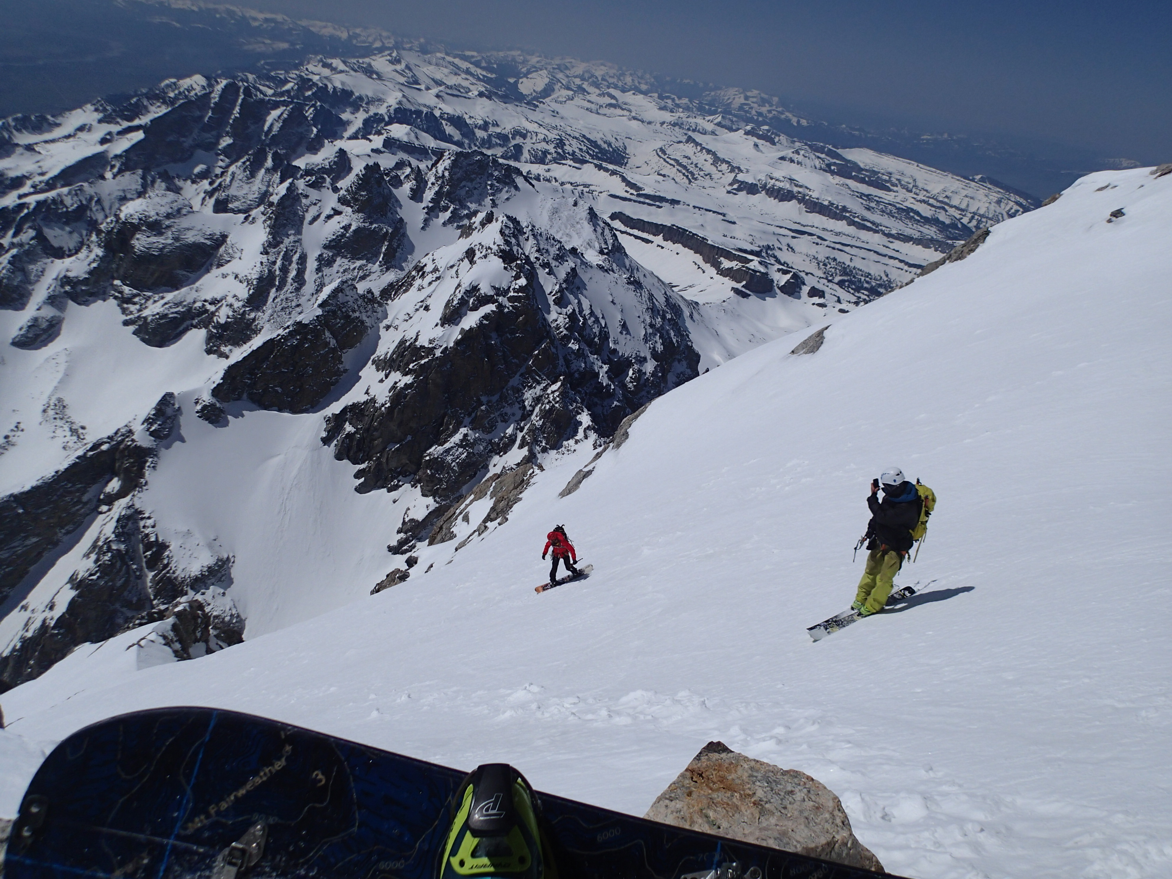 Snowboarding down the Grand Teton