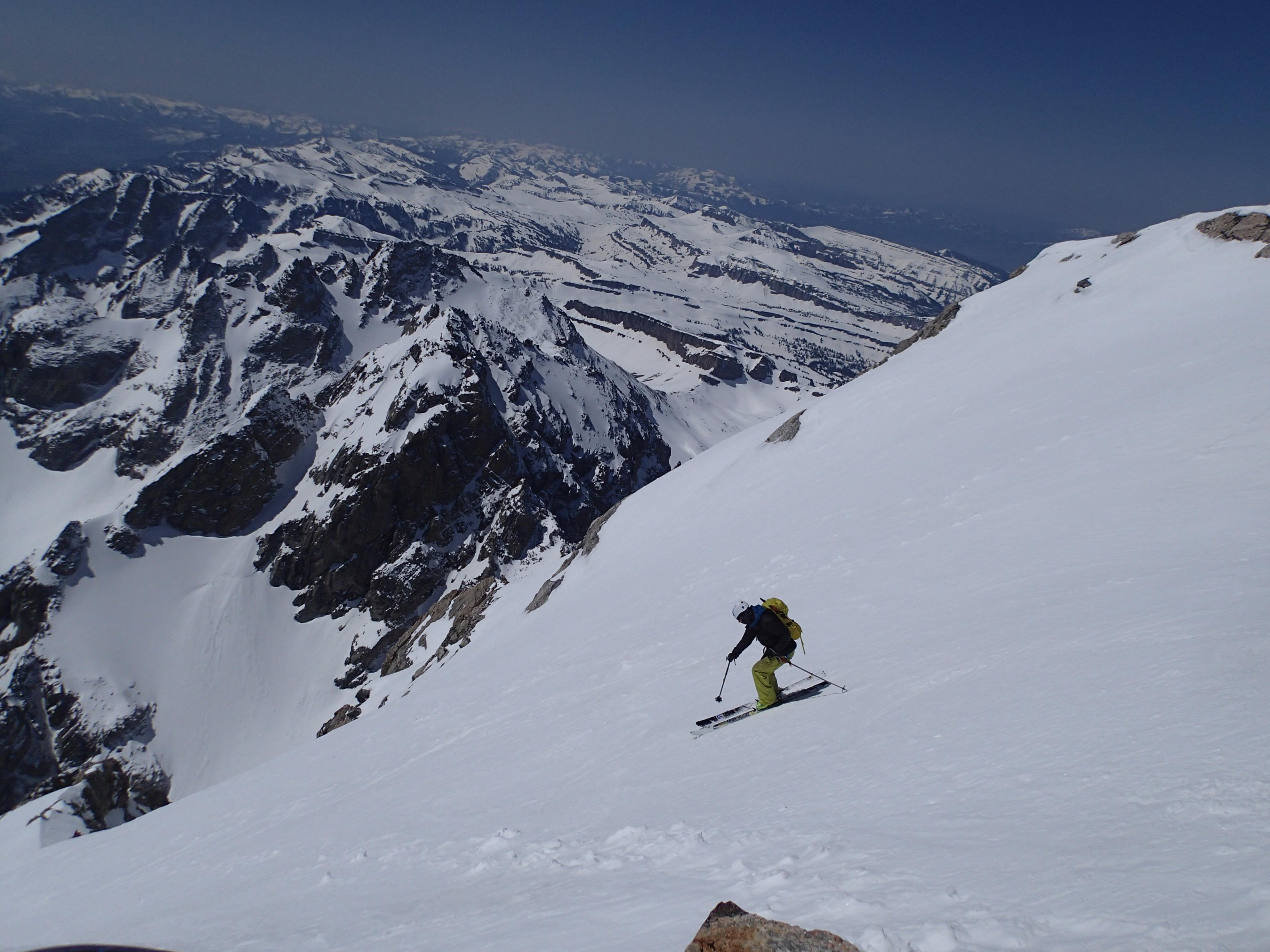 Skiing down the Grand Teton